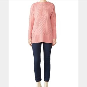 J. Crew Lonnie wool pink long cable knit sweater